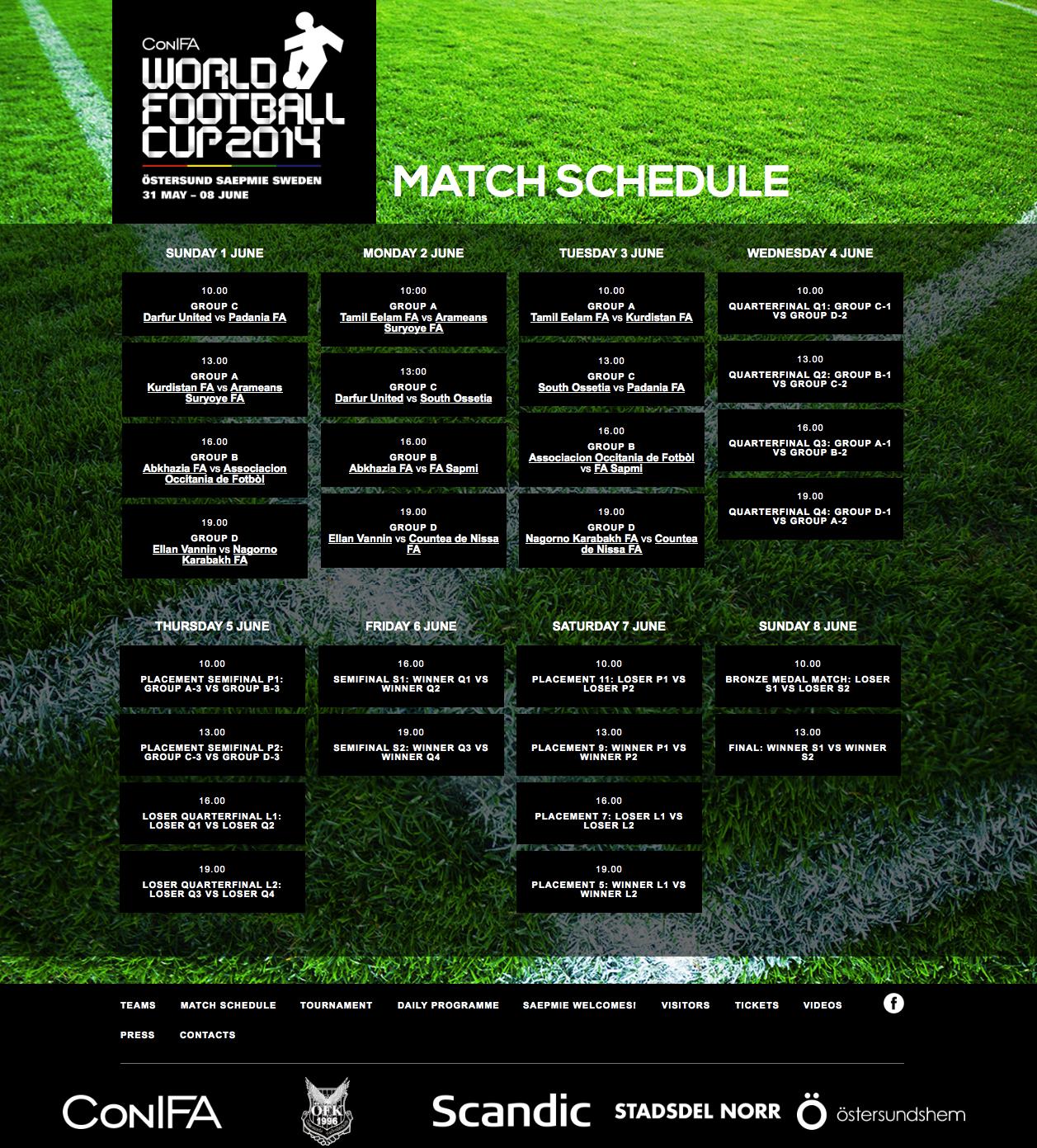 CONIFA Schedule