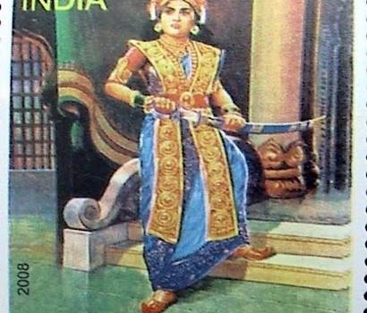 2008 Indian postage stamp released in commemoration of Rani 'Veera Mangai' Velu Nachchiyar. SOURCE: www.liveindia.com