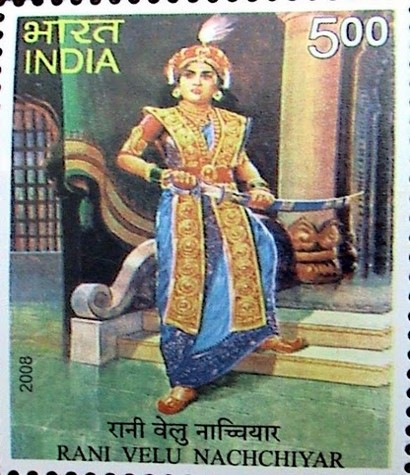 2008 Indian postage stamp released in commemoration of Rani 'Veera Mangai' Velu Nachchiyar. SOURCE: www.liveindia.com